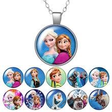 Новое ожерелье принцессы Эльзы и Анны с изображением героев мультфильмов, Серебряное/бронзовое ожерелье, 25 мм, стекло, кабошон, ювелирные изделия для девочек, подарок на день рождения, 50 см