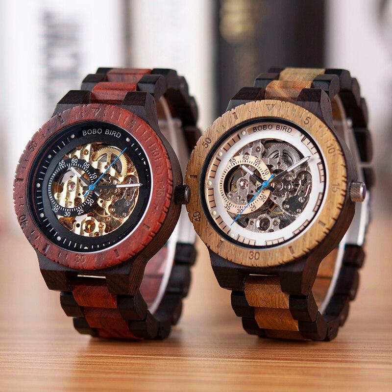 BOBO oiseau en bois montres hommes automatique mécanique montre-bracelet étanche mâle forsining dans cadeau boîte en bois masculino montre - 4