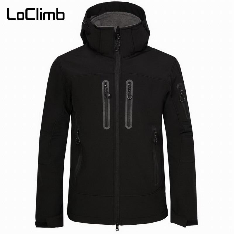 LoClimb Men's Outdoor Hiking Jacket Men Winter Fleece Softshell Coats Sport Heated Windbreaker Trekking Waterproof Jackets AM349