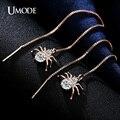 Umode aranha banhado a ouro rodada cut limpar cubic zirconia longo dangle brincos para mulheres boucle d'oreille femme novo ue0175