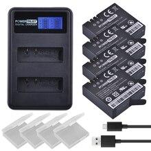 4 Pcs Xiaomi Yi 4 K II 3.85 V Baterias + LCD USB Carregador Duplo Para XiaoYi AZ16-1 4 K 2 Bateria Da Câmera Ação