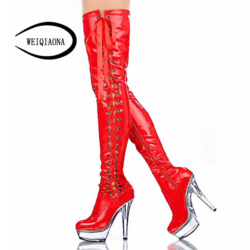 WEIQIAONA size 34-46 Women Sexy High Heel Boots Cross Strap thigh high Boots high heels crystal waterproof platform Dance Shoes