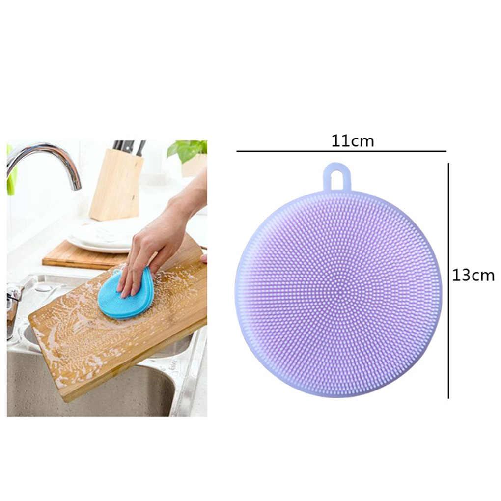 Hot Magic ซิลิโคนจานชามแปรงทำความสะอาด Multifunction Scouring Pad หม้อล้างแปรงทำความสะอาดห้องครัวเครื่องมือซักผ้า