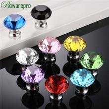 цены bowarepro 30MM Kitchen Handles Crystal Diamond Glass Knob Cupboard Pulls Drawer Knobs Kitchen Cabinet Handles Furniture Hardware