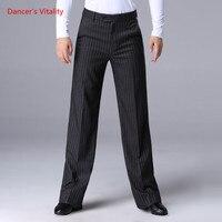 Professional Ballroom Dance Pants Adult Men's Stripe Wide leg Trousers Latin Dance Trousers Ballroom Waltz Tango Dance Clothes