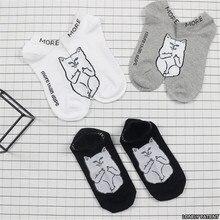 Японский Harajuku Средний Палец Cat Носки Женщины Мужчины Забавный Мультфильм Хлопок Лодка Носки Для Любителей