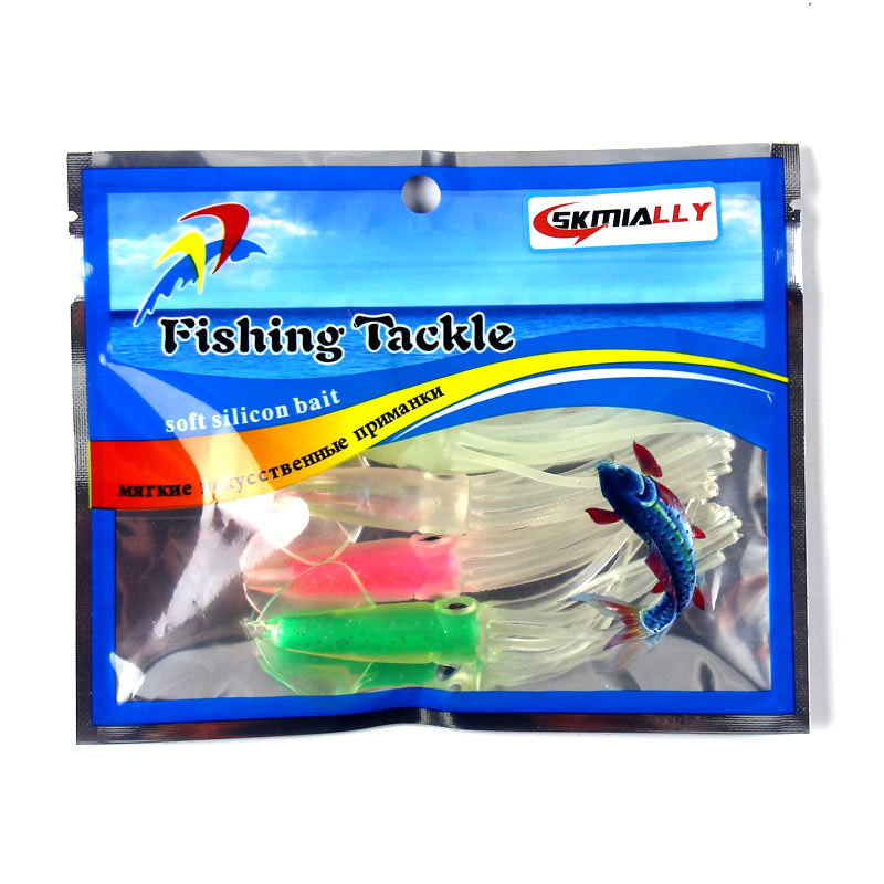 Skmially 6g 9cm 4pcs/bag Squid Jigs with Color Tube Silicone Fishing lure Soft Baits Fishing Tackle Set Artificial Bait sea lure