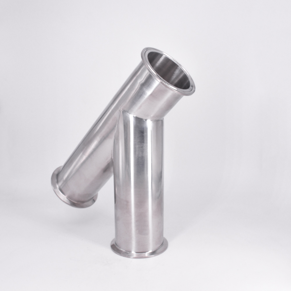 76mm Pipe OD 3 Tri Clamp Oblique Y Shaped 3 Way SUS 304 Stainless Sanitary Fitting