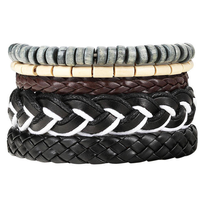 New Fashion Bead Leather Bracelets & bangles for Woven 3/4 pcs 1 Set Multilayer Wristband Vintage Handmade Bracelet Men Pulseira 3