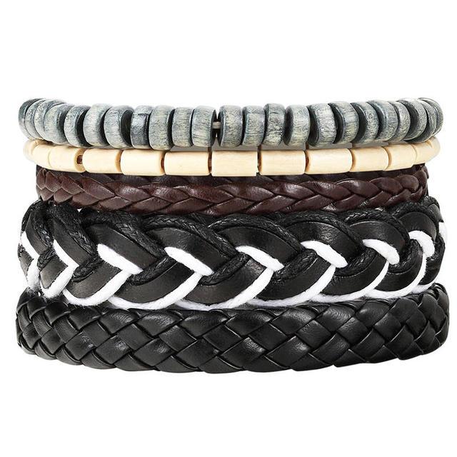Set of Leather Bracelets for Men