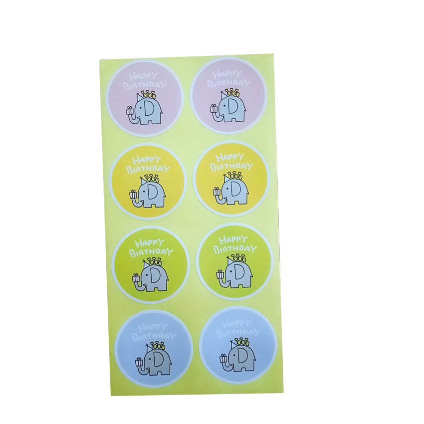 80pcs/lot Cute Elephant Happy Birthday Sealing Sticker Adhesive Kraft Seal Sticker For Baking Round Gift Label Stickers