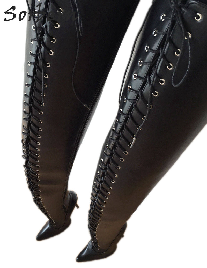Sorbern Extreme Long Boot Custom 95Cm Crotch Thigh High Boots Women Lace Up 18Cm Stiletto Boots Personalized Shaft Calf Width in Over the Knee Boots from Shoes