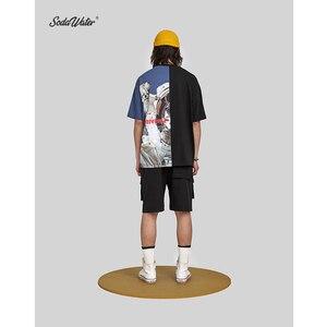 Image 4 - SODA SU Büyük Boy Baskı T shirt Üst Marka Giyim erkek Kısa Kollu Tshirt Streetwear Hiphop Gevşek pamuklu bluz Tees 91218S