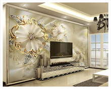 beibehang wall paper Modern luxury fashion gold 3d stereo European pattern jewelry TV background papel de parede wallpaper
