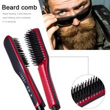 Portable Rapid Heating Beard Comb Quick Straighten Hair Curler Ceramic with 6 Adjustable Temperatures for Men Women