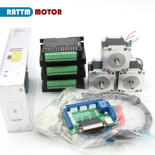 3 axis cnc controller kit nema23 56mm 165 oz in stepper for 3 axis nema 23 stepper motor driver controller cnc kit
