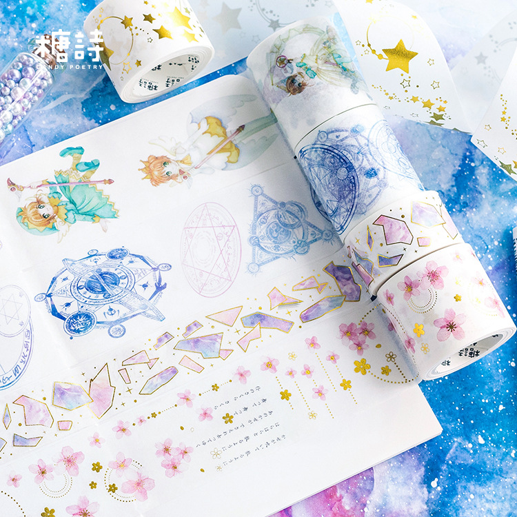 Card Captor Sakura Fragment Gilding Washi Tape Adhesive Tape DIY Scrapbooking Sticker Label Craft Masking Tape mermaid bubble gilding raindrop washi tape adhesive tape diy scrapbooking sticker label craft masking tape