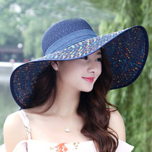 9a94612cf78 HT1675 New Summer Hats for Women Large Big Wide Brim Beach Hat Female  Casual Floppy Sun Hats Ladies Packable Colorful Straw Hat