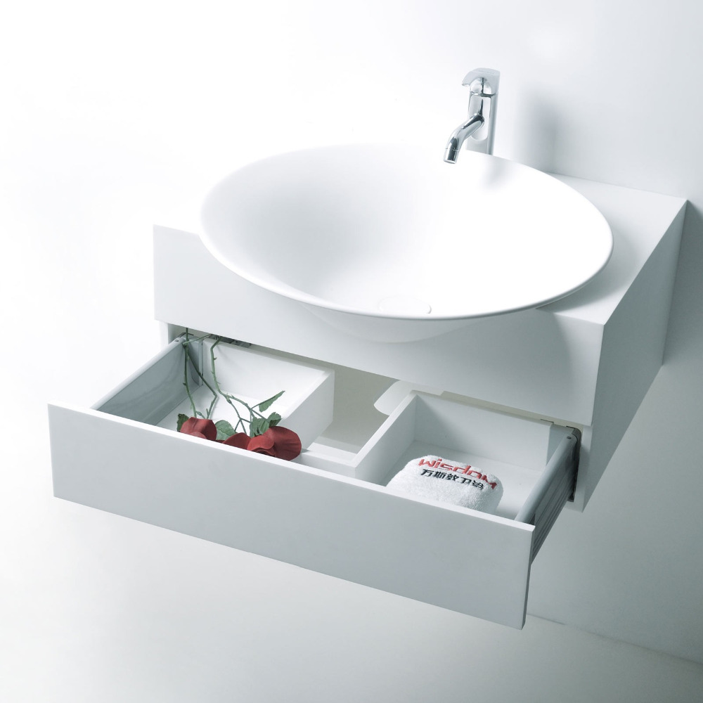 HOLA Diam. 56cm CounterTop Basin Stone Solid Surface Wall Hung Round Vessel <font><b>Sink</b></font> With drawer RS3872