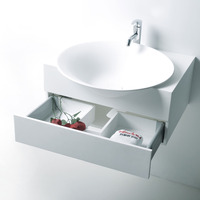 HOLA Diam. 56cm CounterTop Basin Stone Solid Surface Wall Hung Round Vessel Sink With drawer RS3872