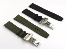 20 21 22mm Green Black Nylon Fabric Leather Band Watch Band Steel Clasp For PILOT'S WATCHES/Portugieser PORTUGUESE