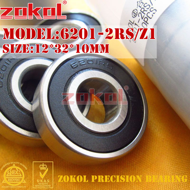 ZOKOL 6201RS bearing 6201 2RS Z1 180201 Z1 Deep Groove ball bearing 12*32*10mm 6201 2rs full si3n4 ceramic deep groove ball bearing 12x32x10mm 6201 2rs