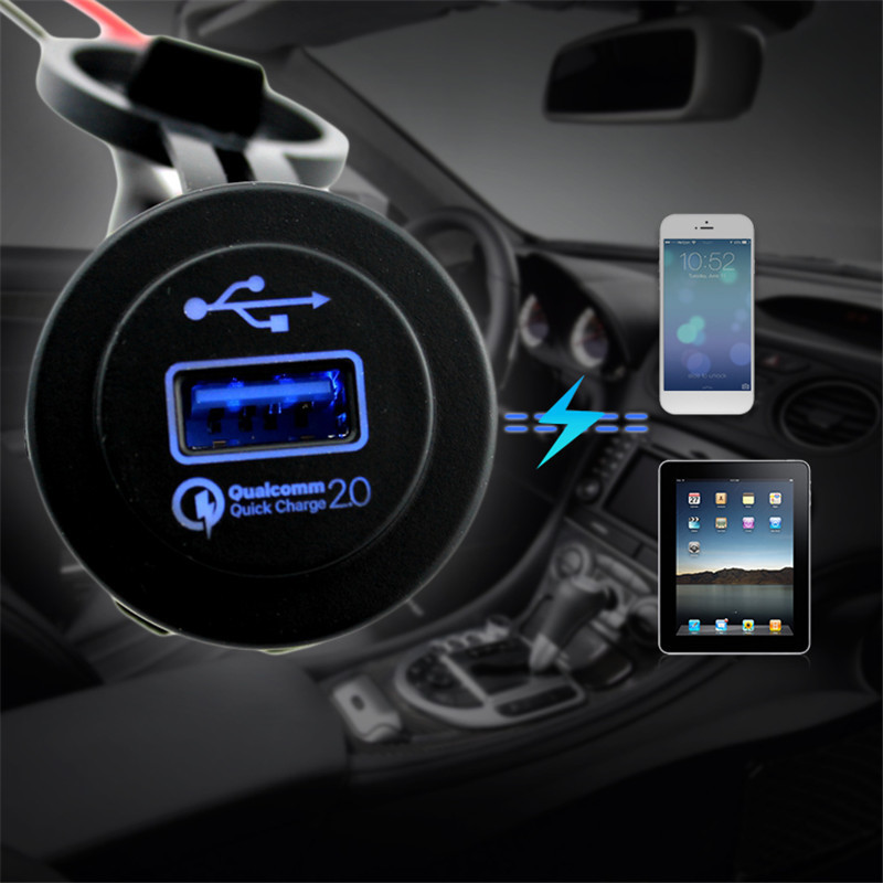 Car Phone Charger QC 2.0 LED Display USB Adapter Mobile Charger CE Waterproof Single USB Car Charger US Plug Car Fast Charger