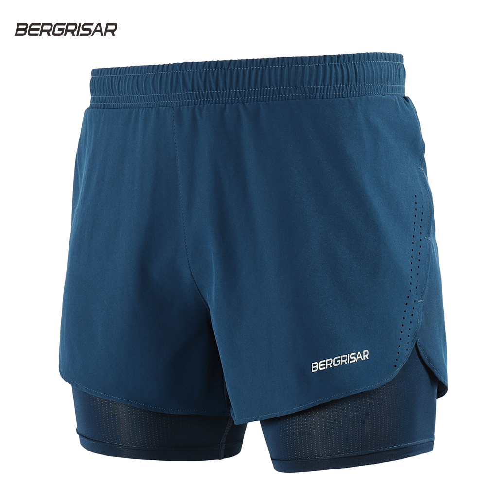 BERGRISAR Men Running Shorts  2 In 1 With Long Liner Quick Dry Sport Shorts Athletic Training Crossfit Fitness Gym Shorts Bg008