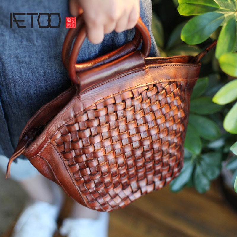 AETOO New handmade cowhide woven bag ladies shell handbag leather retro art single shoulder diagonal package казан нева металл 5 л 6850