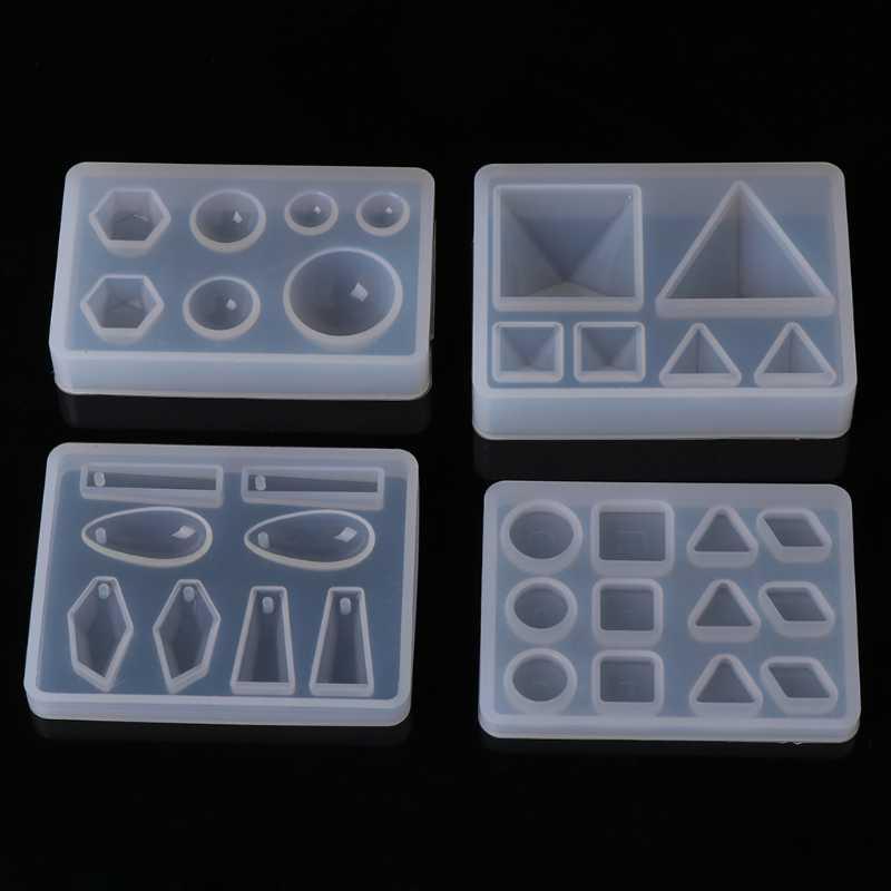 السائل الراتنج قالب من السيليكون DIY بها بنفسك هندسية مثلث مرآة الحرفية راتنجات الايبوكسي لصنع المجوهرات قلادة قلادة كعكة الزخرفية