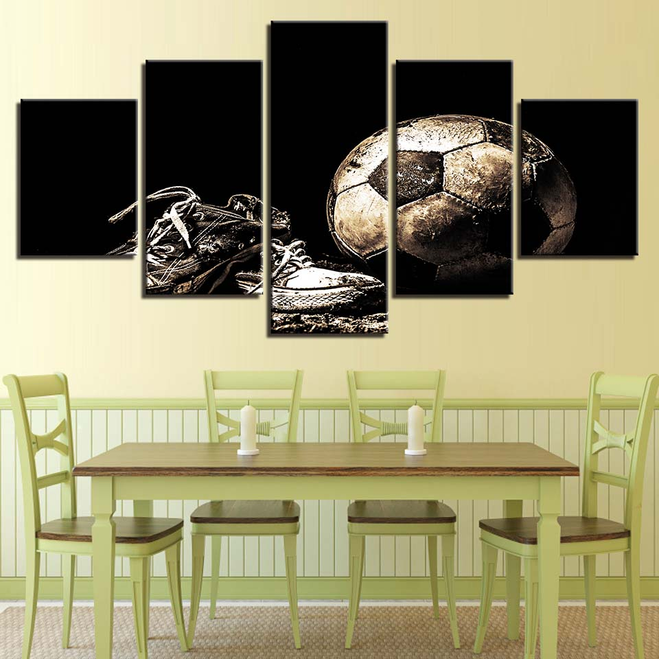 Wall Art Poster Modular Framework Canvas Modern 5 Panel Sports Football Shoes Living Room Decorative Artwork Picture Painting-in Painting & ...