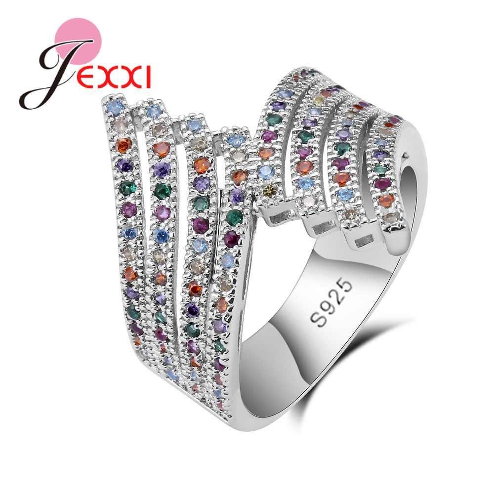แหวนเงินแท้ 925 สี Zircon ตกแต่งหมั้นปาร์ตี้ Fanshaped สไตล์น่ารักสำหรับของขวัญผู้หญิงผู้หญิงโรแมนติก