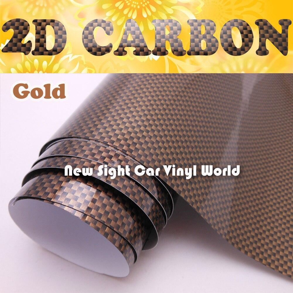 Высокое качество Gloss Gold 2D углерода Волокно Винил обёрточная бумага Air Channel для автомобиля Размеры: 1,52*30 м/Roll