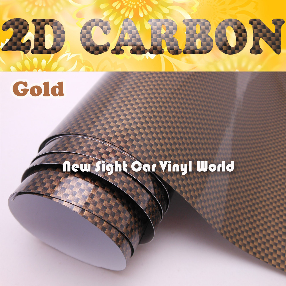 High Quality Gloss Gold 2D Carbon Fiber Vinyl Wrap Air Channel For Vehicle Wrap Size: 1.52*30m/Roll 2014 2015 new hot air free bubbles 3d carbon 1 27 30m roll fiber vinyl sticker for mitsubishi skoda toyota motorcycle moble ipod