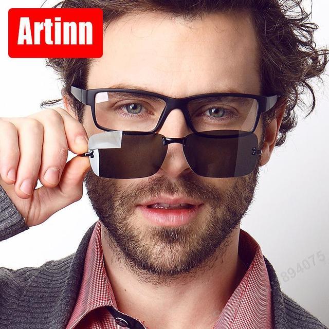 Prescription eyeglasses frames men eye glasses computer eyewear 2 in 1  polarized sunglasses pc spectacl clip