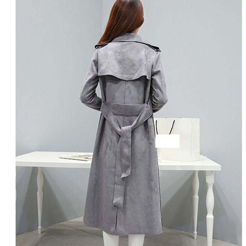Automne Couleur 2019 Et Nouveau D'hiver Manteau vent Coupe Femmes Longues Longue Ko270 Solide Manches Taille Gray De Mode Grande tXYqP1n