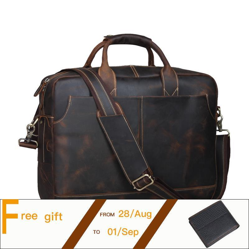 Men Leather Briefcase Retro Cowhide Business Handbag Fit For 15 Inch Laptop Bag Brown PR561019 top layer genuine cowhide coffee classic men s leather briefcase business handbag fit for 15 laptop bag pr577247b 1