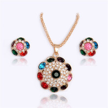 SHUANGR Ethnic Colorful Cubic Zircon Flower Pendant with Gold-olor Chain Earrings Necklace Set For Women Wedding Jewelry Sets(China)