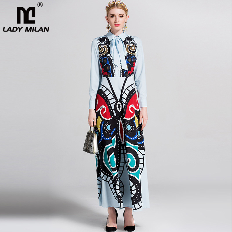 New Arrival 2018 Womens Turn Down Collar Long Sleeves Sash Belt Printed Elegant Long Designer Runway Dresses