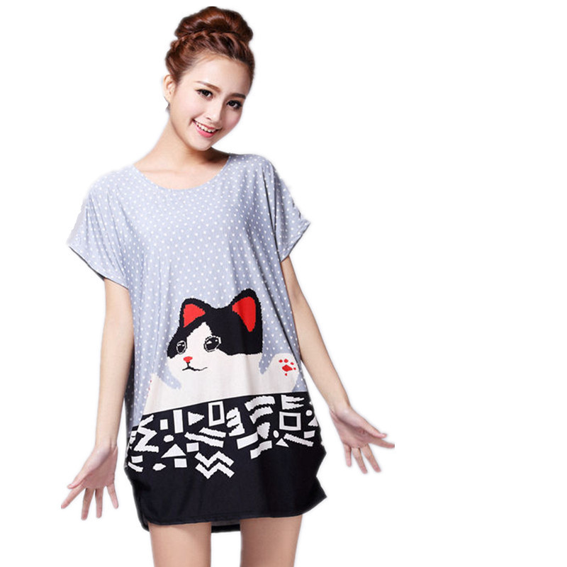 New 2018 Summer Spring Women Casua Cat  Print Cartoon Short Sleeve T Shirts Tops  Tees Plus Size Loose  Tunic L-4XL Big