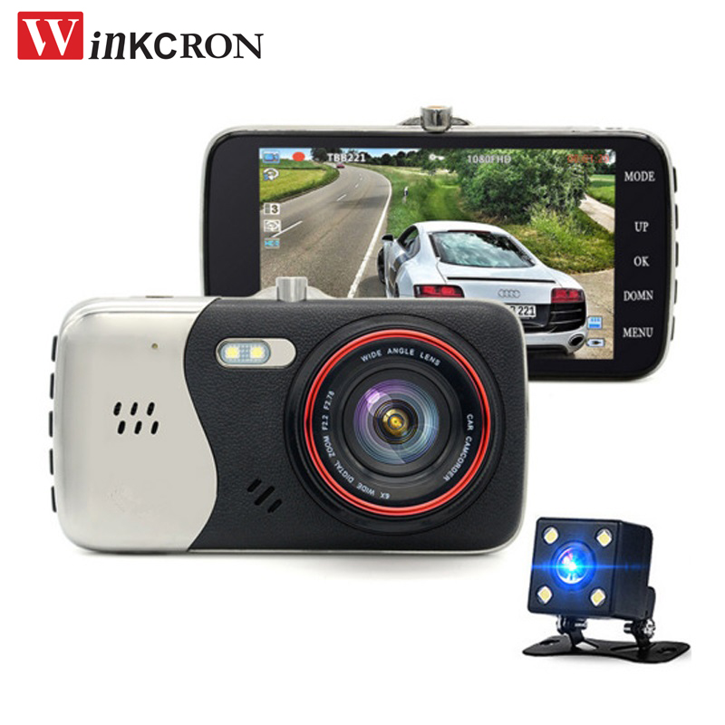"Car Dash Camera 4.0"" IPS Full HD 1296P ADAS Dual Lens 170 degree angle WDR 1080P Auto Video Recorder Registrar Detect Car DVR"