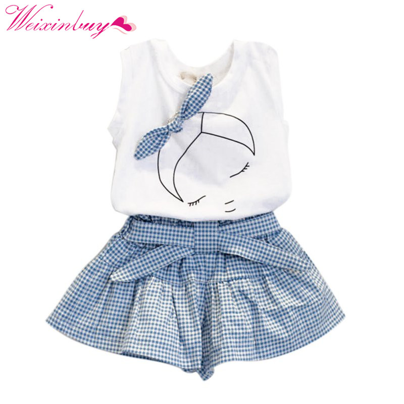 Baby Girl kid Clothes Bow cartoon pattern T-shirt Tops+Plaids&Check plaid Dress Skirt lacing Pants Outfit Set cartoon kid supercharged