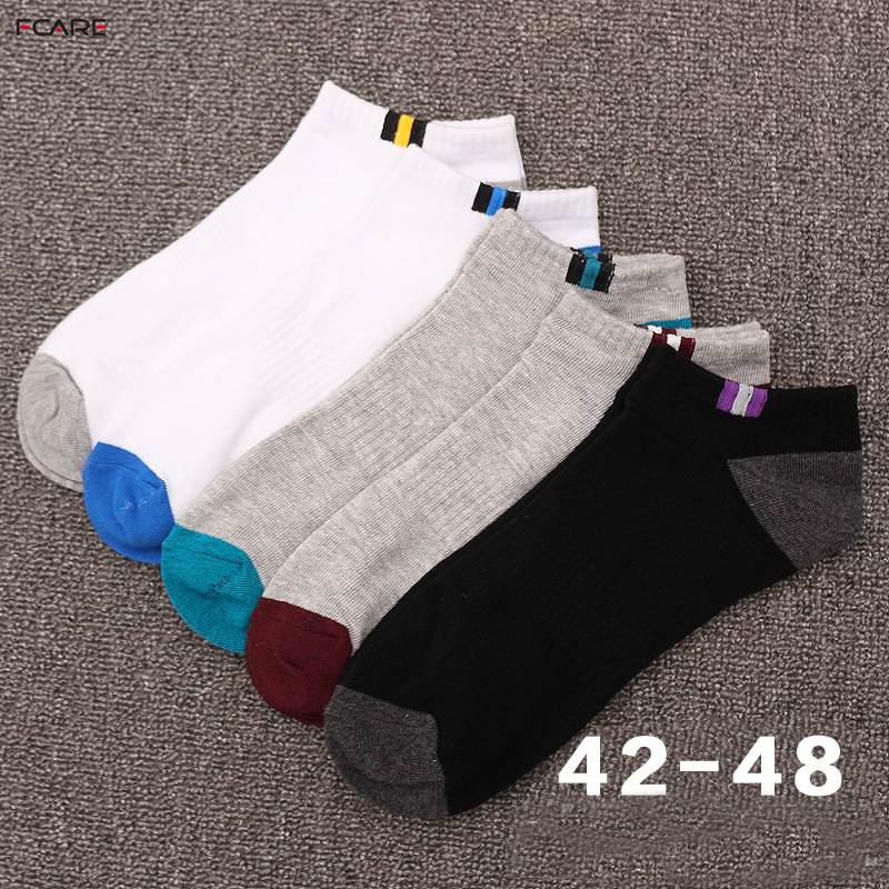 20PCS=10 pairs Men's boat   socks   cotton deodorant sweat business sports   socks   plus size XXXL 45,46, 47, 48 short summer   socks
