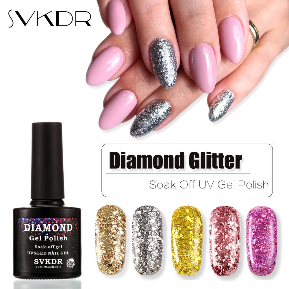 Svkdr 10 Ml Diamond Glitter Gel Polish Rendam Off Lampu UV Gel Tahan Lama Bling Kuku Diseduh Sendiri Payet Nail gel Varnish 15 Warna
