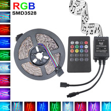 3528 RGB LED Luz de Tira Flexible DC12V los 5 M 10 M SMD2835 5 m/roll + música Mando A Distancia IR controlador, Decoración Del hogar LLEVÓ La Raya