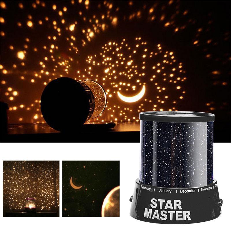 مصباح ضوئي ليلي LED للسماء المرصعة بالنجوم بتصميم سحري على شكل نجمة قمر وكوكب الفضاء مصباح ضوئي لتزيين الكون يصلح كهدية للأطفالمصابيح ليلية   -
