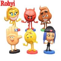 Rohyi 6pcs/lot Hot Emoji Movie Cartoon Anime Action Figures Hi 5 Jailbreak Gene Poop Ice Cream Mel Meh Poop Daddy Model Toys