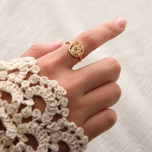 New Zinc Alloy Female Rings Wedding Gold Round Rhinestone Totem Moon Ring Finger Jewelry Accessories Anillos Mujer alloy plating gold rhinestone finger ring golden