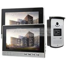 DIYSEUCR 10 inch Wired Video Door Phone Doorbell Home Security Intercom System RFID Camera Night Vision 1 Camera 2 monitors