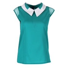 Women Summer Loose Chiffon OL blouses Sleeveless Vest Tops Blouse camisa feminina Plus Size